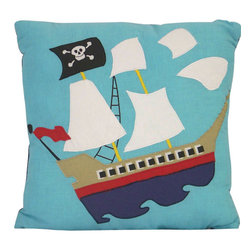 Pem America - Pirate Treasure Pillow - Pirate Treasure is a fun large scale patchwork quilt with large icons of pirates and buried treasure. The quilt features 100% cotton face material with hand pieced and embroidered highlights. 16 x 16 inch decorative pillow with applique and embroidered highlights. 100% cotton face cloth.  100% polyester fill. Machine washable.
