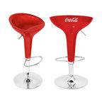 """Lumisource - Coca-Cola Scooper Bar Stool, Red/White - 17"""" Diam. x 27 - 33"""" H"""""""