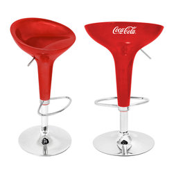 "Lumisource - Coca-Cola Scooper Bar Stool, Red/White - 17"" Diam. x 27 - 33"" H"""