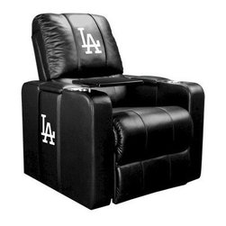 Dreamseat Inc. - Los Angeles Dodgers MLB Alt Logo Home Theater Plus Leather Recliner - Check out this awesome Leather Recliner. Quite simply, it's one of the coolest things we've ever seen. This is unbelievably comfortable - once you're in it, you won't want to get up. Features a zip-in-zip-out logo panel embroidered with 70,000 stitches. Converts from a solid color to custom-logo furniture in seconds - perfect for a shared or multi-purpose room. Root for several teams? Simply swap the panels out when the seasons change. This is a true statement piece that is perfect for your Man Cave, Game Room, basement or garage. It combines contemporary design with the ultimate comfort from a fully reclining frame with lumbar and full leg support.