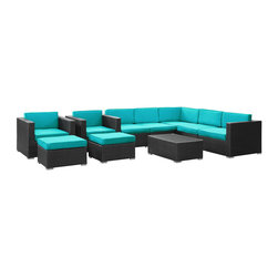 Modway Furniture - Modway Avia 10 Piece Sectional Set in Espresso Turquoise - 10 Piece Sectional Set in Espresso Turquoise belongs to Avia Collection by Modway Surround yourself with a modern landing pad of exploration. Positioned to advance your outdoor patio, backyard, or pool area, Avia helps you bestow acceleration to your outward achievements and social celebrations. Set Includes: One - Avia Outdoor Wicker Patio Coffee Table One - Avia Outdoor Wicker Patio Left Arm Section One - Avia Outdoor Wicker Patio Right Arm Section Three - Avia Outdoor Wicker Patio Armless Sections Two - Avia Outdoor Wicker Patio Armchairs Two - Avia Outdoor Wicker Patio Ottomans Coffee Table (1), Left Arm Section (1), Right Arm Section (1), Armless Section (3), Armchair (2), Ottoman (2)
