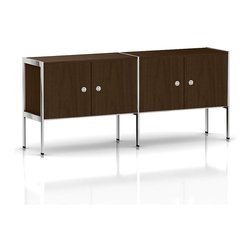 Geiger - H Frame Credenza, 4 Doors - This attractive credenza inspires organization in your office or living space. Perched on a durable metal frame, the two-sided credenza features four doors with metal pulls, providing a seamless front view.