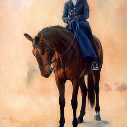 "DEL MAR PARADE Artwork - Customized Giclee using special high resolution printers on canvas and archival watercolor paper types and weights.  This unframed piece is sized at 18x24"", stretched ready to be framed .  This unique study of a sidesaddle rider in her mutual pose of relaxation with her mount will become a focal point in any traditional setting."