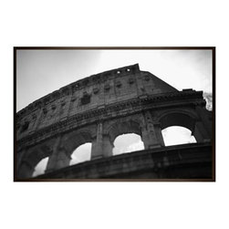 """Michal Venera Framed Print, Coliseum I, No Mat, 28 x 42"""", Espresso - On first glance, these iconic images of Rome are striking for their lush sepia tones, rich detail and intriguing camera angles. A closer look reveals the beauty of patterns, whether it is hundreds of stones that make up an old street, arches in the coliseum or the remaining three columns of a ruin. All exude a sense of order and timelessness amid the ever-changing landscape of city and country. 13"""" wide x 11"""" high 20"""" wide x 16"""" high 42"""" wide x 28"""" high Alder wood frame. Black or white painted finish; or espresso stained finish. Beveled white mat is archival quality and acid-free. Available with or without a mat.{{link path='shop/accessories-decor/pb-artist-gallery/artist-gallery-michal-venera/'}}Get to know Michal Venera.{{/link}}"""