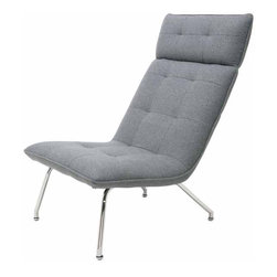 Nuevo Living - Mason Lounge Chair, Light Grey Wool - With its Jetsons vibe, you might say that this is the chair of the future — the future of your favorite setting, that is. The sleek, literally laid-back design and your choice of Naugahyde or wool upholstery lets you lounge in space-age style.
