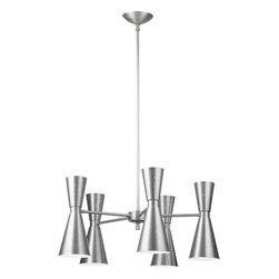 """Galaxy Chandelier by Rejuvenation - With the cluster of cones and twinkle of light from its pinholes, the Galaxy is the perfect accent for large dining rooms, living rooms, and entryways. In the vast """"cosmos"""" of Mid-Century Modern lighting designs, the hourglass profile remains one of the most iconic. Fresh and futuristic when first introduced, our handcrafted aluminum fixtures are an elegant update."""