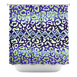 DiaNoche Designs - Shower Curtain Artistic - Leopard Trail Blue - DiaNoche Designs works with artists from around the world to bring unique, artistic products to decorate all aspects of your home.  Our designer Shower Curtains will be the talk of every guest to visit your bathroom!  Our Shower Curtains have Sewn reinforced holes for curtain rings, Shower Curtain Rings Not Included.  Dye Sublimation printing adheres the ink to the material for long life and durability. Machine Wash upon arrival for maximum softness. Made in USA.  Shower Curtain Rings Not Included.