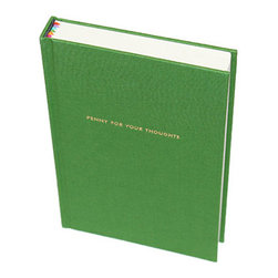 """Kate Spade - Kate Spade Green Journal - Thoughts become things, so don't forget. Write them in this elegantly fun journal. Covered in green book cloth with the words """"penny for your thoughts"""" in gold foil. Six ribbon bookmarks help to organize your thoughts. 300 Lined Pages - 8""""H X 5""""W"""