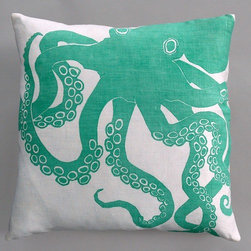 "Dermond Peterson - Octopus Turquoise Pillow on White Linen - Bright, playful, and fun! Dermond Peterson pillows are a chic and sophisticated way to add a piece of art to your living room or bedroom. Features: -Color: Turquoise and White Linen. -Each pillow is made to order. -Hand block printed on natural linen using water based ink. -Feather and down insert. -Pillowcase is machine washable. -Machine wash cold on gentle cycle. -Zipper back. -Made in Milwaukee, WI. -Overall dimensions: 20"" H x 20"" W x 4"" D."