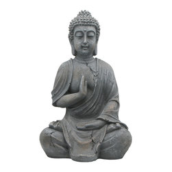 Buddha Groove - Serene Grey Garden Buddha Statue - Handmade. Minor variations and imperfections enhance the artistic character of the statue.