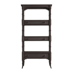 Stanley - Coastal Living Retreat Etagere, Gloucester Grey - Here's a piece that makes the room. From its unusual box-on-box shelf construction to its triple-ring post motif, this etagere provides eye-catching, beach house charm.