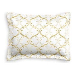Pale Yellow Embroidered Scroll Chain Custom Sham - The Simple Sham may be basic, but it won't be boring!  Layer these luxurious reversible shams in various styles for a bed you'll want to fall right into. We love it in this elegant, classic swirling chain-link trellis embroidered in pale yellow and gold.