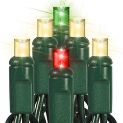 30 Light - LED - 12 ft. String - Color Changing - Warm White, Red, Green - This season bring a traditional look to your holiday lighting with warm white and color changing wide angle LED mini lights. 35 bulbs are spaced 4 inches apart on 12 feet of green wire, making the string ideal to wrap topiaries and wreaths. Every 5th bulb changes color from green to red. UL listed for indoor and outdoor use, 80 sets can be combined end-to-end. The three-season warranty covers use for 30 days for each of three holiday seasons.
