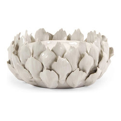 Camilla Artichoke Candle Holder - Low - It's nice when a room lights up, even when the candles are out. Simply place a small pillar candle in this artichoke candle holder and transform a room into a romantic space. Textured and versatile enough to use at the table, in the kitchen, or on the entryway console, this piece reminds us of spring buds and summer harvests in any season of the year.