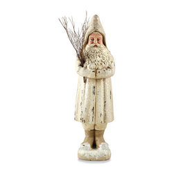 Ivory Belsnickel Santa - With a classical look and real twig sprig, the Ivory Belsnickel Santa is well appointed for many styles of decor. Whether transitional, coastal or shabby chic, this antique white hand painted Santa brings an air of elegance to your winter decor. Place him on a mantle alongside your garlands and other holiday decor or showcase him in an entryway for guest to gaze upon as they enter.