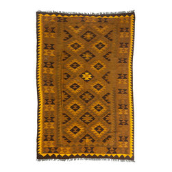 "Darya Rugs - Darya Rugs Kilim, Yellow, 5'4"" x 8'0"" M1785-378 - Darya Rugs Kilim collection rugs are craftily woven using the flat-weave knotting technique. Kilims have a low-pile, maintaining its original, ethnic and tribal essence. Kilim rugs are flat woven, meaning they are thin, similar to throw rugs."
