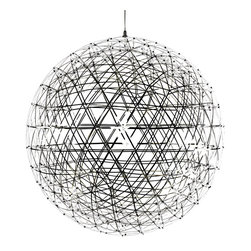 Moooi - Raimond LED Suspension - Raimond non-dimmable LED suspension in stainless steel has intricate spheres transporting LED terminals to create an atmospheric ambiance. Small: 92 20 watt, 120 volt 2700K LED modules are included. 16.9 inch diameter. Medium: 162 30 watt, 120 volt 2700K LED modules are included. 24 inch diameter. Large: 252 35 watt, 120 volt 2700K LED modules are included. 35 inch diameter. Includes power supply and canopy in Stainless Steel. General light distribution. Includes 156 inch field adjustable suspension cable.