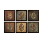 Uttermost - Uttermost 50890  New Leaf Framed Panel Set/6 - These oil reproductions feature a hand applied brushstroke finish. frames have a medium brown undertone with heavy black distressing. each print is 14x14.