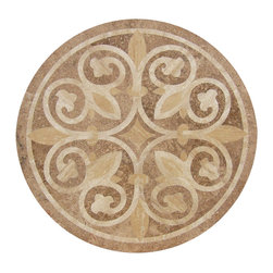 """Floor Medallions Online - 36"""" Waterjet Medallion - Windsor - The Windsor's light colors reminds the viewer of an elegant desert home. For those seeking only the finest in stone medallions, the Windsor is bound to be a great choice!"""