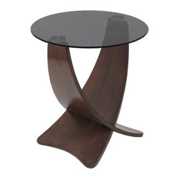 """LumiSource - Criss Cross End Table - Looking for a chic, modern end table? The Criss Cross End Table is just what you need! Resting atop two tall, interlocked wooden legs is a circular panel of sleek, dark tempered glass. The Criss Cross End Table is the ideal in contemporary design. Make this table a part of your home today! Features: -Sleek dark tempered glass.-Interlocking wooden legs.-Contemporary style.-Great for use in living room or TV room.-Distressed: No.-Collection: Occasional Furniture.-Top Finish: Smoked.-Base Finish: Dark wood veneer.-Powder Coated Finish: No.-Gloss Finish: No.-Base Material: Wood.-Top Material: Glass.-Solid Wood Construction: No.-Hardware Material: Metal.-Nesting Tables: No.-Non-Toxic: Yes.-UV Resistant: No.-Scratch Resistant: No.-Weather Resistant or Weatherproof: No.-Water Resistant or Waterproof: No.-Stain Resistant: No.-Lift Top: No.-Storage Under Table Top: No.-Drop Leaf Top: No.-Magazine Rack: No.-Built In Clock: No.-Drawers Included: No.-Hardware Finish: Chromed metal.-Exterior Shelves: No.-Cabinets Included: No.-Glass Component: Yes -Tempered Glass: Yes.-Beveled Glass: No.-Frosted Glass: No..-Legs Included: No.-Casters: No.-Lighted: No.-Stackable: No.-Reclaimed Wood: No.-Adjustable Height: No.-Outdoor Use: No.-Weight Capacity: 40 lbs.-Swatch Available: No.-Commercial Use: No.-Recycled Content: No.-Eco-Friendly: No.-Product Care: Wipe with dry cloth for base, glass cleaner for table top.-Built In Outlets: No.-Powered: No.Specifications: -FSC Certified: No.-EPP Compliant: No.-CARB Compliant: Yes.-ISTA 3A Certified: No.-ISTA 1A Certified: Yes.-General Conformity Certificate: No.-Green Guard Certified: No.-ISO 9000 Certified: No.-ISO 14000 Certified: No.-UL Listed: No.Dimensions: -Overall Product Weight: 18 lbs.-Overall Height - Top to Bottom: 22"""".-Overall Width - Side to Side: 19.5"""".-Overall Depth - Front to Back: 19.5"""".-Width When Fully Extended: 19.5"""".-Table Top Thickness: 0.25"""".-Table Top Width - Side to Side: 19.5"""".-Table Top """