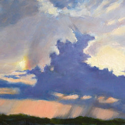 Almost A Rainbow (Original) by Carmen  Beecher - I was in a rooftop garden in San Miguel de Allende, Mexico when I saw this beautiful sky. It was raining and trying to make a rainbow as the sun was setting. San Miguel is a gorgeous place with scenes everywhere worthy of painting.