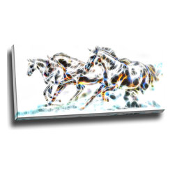 Wild Horses - Animal Art Canvas, 32W x 16H, 1 Panel - This animal artwork is a gallery wrapped canvas piece. This design is printed in high quality fade resistant ink on premium quality cotton canvas.