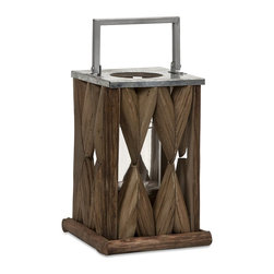 iMax - iMax Santiago Wooden Lantern - Small X-18365 - Beautifully constructed tanoak pieces form the walls of the Santiago lantern creating a soft natural glow, while the metal top and handle make it safe for candles.