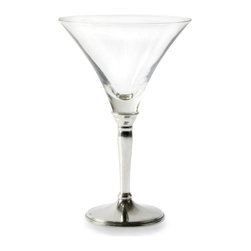 Classic Cocktail Glass - The gently curved, flaring cone of the Classic Cocktail Glass rests in a pewter base as naturally and gracefully as the bell of a lily perches on its stem.  Mixed drinks and modern spirits are beautifully presented in this traditional fusion of polished pewter and crystal-clear glass, a stemware piece with an alluring personality and a stunning effect.