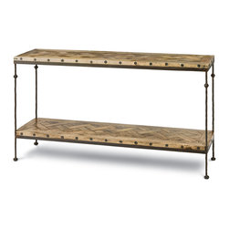 Kathy Kuo Home - Shays Rustic Mango Wood Parquet Metal Rectangle Console Table - Nothing says quality design like parquet. This console table pays every attention to detail, from the wood inlay surface to the elegantly forged iron frame. Whether in your dining room, living room or entryway, it will make a charming place to display your favorite photographs and keepsakes.