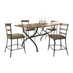 "Hillsdale Furniture - Hillsdale Charleston 5-Piece Counter Table Set with Ladder Back Stools - Hillsdale's Charleston collection beautifully combines a rustic desert tan wood finish with a dark grey metal and offers a multitude of choices to create the perfect dining group for your home. Starting with the chairs, you have the choice of three lovely designs: The X-Back chair combines a rustic desert tan top accent with a transitional metal X in the center of the back and a brown faux leather seat. The parson's chair is traditional in design and combines the rustic desert tan finish with the brown faux leather seat. The ladder back chair features 3 rungs in the desert tan finish, enhanced by the dark grey metal and brown faux leather seat. Now that you have decided on your chair, let's look at the table options: The stunning rectangle table features a wood top that is generously scaled to easily accommodate 6. The simple round table features a 48"" diameter wood top with flared metal legs. The round wood table is 48"" in diameter and features a wonderful metal accent on the base."