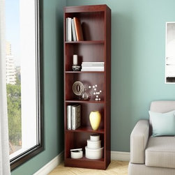 South Shore Axess Collection 5-Shelf Narrow Bookcase - Royal Cherry - The South Shore Axess Collection 5-Shelf Narrow Bookcase - Royal Cherry is a handsome way to store books and decorative items. It's scaled tall and narrow to accommodate a variety of differente sized items without taking up too much floor space. This bookcase offers five levels of open storage space and includes three adjustable shelves. It's well-built of durable laminate and has a royal cherry finish. About South Shore FurnitureA recognized leader in North American furniture manufacture, South Shore Industries was established in 1940 and has been making furniture for three generations. Employing a team of over 1,000 employees in three factories in Quebec, their assembled and ready-to-assemble furniture has a reputation for quality and excellence at affordable prices for today's family.