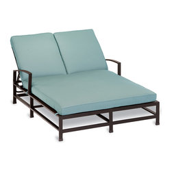 Thos. Baker - Terrace Outdoor Cushion Double Chaise Lounge|Navy Cushion - Masterfully crafted to combine beauty and function, our high-performance wrought aluminum  terrace collection is hand-welded, highly durable and virtually maintenance-free.  The dark chocolate powder-coat is an excellent choice for elegant outdoor lounging and dining sets.Plush Sunbrella cushion sets included where applicable. Choose quick ship in khaki with cocoa piping, stone green or choose from our made-to-order fabric options.