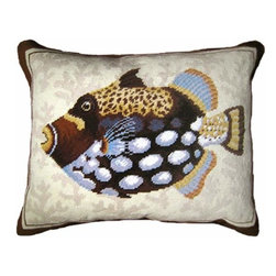 123Creations - Spotted Fish Needlepoint Pillow 16 x 20 Pillow - -100% Wool Hand Embroidered 123Creations - C926-16X20