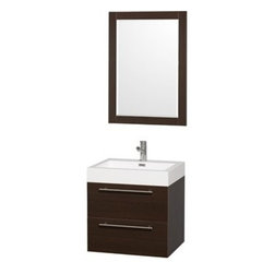 """Wyndham Collection(R) - Amare 24"""" Wall-Mounted Bathroom Vanity Set with Integrated Sink by Wyndham Colle - The Wyndham Collection is an entirely unique and innovative bath line. Sure to inspire imitators, the original Wyndham Collection sets new standards for design and construction. The Amare wall-mounted vanity family delivers beautiful wood grain exteriors offset by modern brushed chrome door pulls. Each vanity provides a full complement of storage areas behind sturdy soft-close doors and drawers. This versatile vanity family is available with distinctive vessel sinks or sleek integrated counter and sinks to fulfill your design dreams. A wall-mounted vanity leaves space in your bathroom for you to relax. The simple clean lines of the Amare wall-mounted vanity family are no-fuss and all style. Amare Bathroom Vanities are available in multiple sizes and finishes. FeaturesConstructed of beautiful veneers over the highest grade MDF, engineered for durability, and to prevent warping and last a lifetime 8-stage preparation, veneering and finishing processHighly water-resistant low V.O.C. sealed finishUnique and striking contemporary designModern Wall-Mount DesignMinimal assembly requiredDeep Doweled DrawersFully-extending soft-close drawer slides Backsplash not availableAcrylic-Resin integrated sink Rectangular Sink Single-hole faucet mountFaucet(s) not includedMirror includedMetal exterior hardware with brushed chrome finishTwo (2) functional drawersPlenty of storage spacePerfect for small bathrooms and powder roomsIncludes drain assemblies and P-traps for easy assembly How to handle your counter Spec Sheet for Vanity Installation Guide for Vanity Spec Sheet for Mirror Installation Guide for Mirror Spec Sheet for Amare Rotating Wall Cabinet with Mirror (WC-RYV202) Spec Sheet for Amare Bathroom Wall Cabinet (WC-RYV205) Installation Guide for Amare Bathroom Wall Cabinet (WC-RYV205) Spec Sheet for Amare Bathroom Wall Cabinet (WC-RYV207-WC)Installation Guide for Amare Bat"""