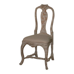 Kathy Kuo Home - Provence Antique Gray French Country Dining Chair - Being distressed isn't always bad. This exquisite antique dining chair — crafted from distressed birch — features a lovely curved frame and a natural checked linen cushion. It's a charming piece that will light up any space.
