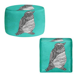 DiaNoche Designs - Ottoman Foot Stool  - Tribal Penguin - Lightweight, artistic, bean bag style Ottomans. You now have a unique place to rest your legs or tush after a long day, on this firm, artistic furtniture!  Artist print on all sides. Dye Sublimation printing adheres the ink to the material for long life and durability.  Machine Washable on cold.  Product may vary slightly from image.