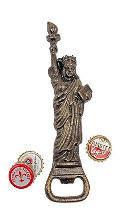 "EttansPalace - Statue of Liberty Cast Iron Bottle Opener - Welcome guests with the American symbol of liberty as you open beverages with our patriotic lady modeled after the original in New York Harbor. Hand-crafted using the time-honored sand cast method, this collectible, hand-held figurine is hand-painted in a faux bronze vintage hue to capture each endearing detail from torch to draped gown. 2""W x 1""D x 8""H. 1 lb."