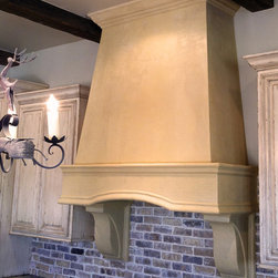 """""""Westin"""" Stone Range Vent Hood - Custom MyriadStone range vent hood and corbels in our smooth Roman finish. This rustic, modern stone vent hood looks perfect in any rustic or western themed kitchen as well as todays modern kitchens."""