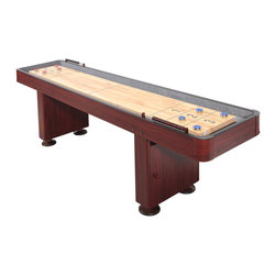 """Blue Wave - Blue Wave 9' Shuffleboard - Walnut - Carmelli; deluxe 9-foot shuffleboard table - walnut finish enjoy this pub style shuffleboard table fun in the comfort of your home. Our shuffleboard tables are packed with quality features. The thick; solid hardwood butcher block playing surface is finished in a smooth, glossy polyurethane finish for durability and to ensure that the puck slides true. Since tables can become humped; during humid weather and dished during dry weather, climate adjusters; are included on the table. Climate adjusters; allow you to smooth out any variations that the hardwood surface may require due to changes in humidity. No other table in this price range offers this feature. Durable MDF table has cabinet-grade plywood corners that are very strong and allow your table to arrive undamaged. At the base of the sturdy legs are 6; leg levelers that allow the table to be leveled on any uneven surface. Two wood scoring abacuses keep track of the winner in highly contested games. The table comes complete with 4 blue pucks, 4 red pucks, 2 abacus scoring units, 1 table brush and 1 can of table wax. Ships truckline. Specifications: 9; table playing surface: 98""""L x 15""""W x 31""""H (Hardwood surface); side and end aprons: 6""""H x 1"""" thick MDF with PVC laminate; molded, cabinet-grade plywood corners; 6; antique bronze leg levelers; two wood abacus scoring units; includes: 4 blue pucks, 4 red pucks, 1 table brush, 1 can of wax; wooden puck case: 9 5/8""""L x 5 5/16""""W x 2 1/8""""H; 2 1/8"""" diameter puck, 9.5 oz. each; integral climate adjusters; to ensure a flat playing surface."""