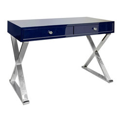 "Worlds Away - Worlds Away Jared Navy Lacquer Desk w/ Stainless Steel Legs - Two drawer navy lacquer desk with stainless ""X"" legs."