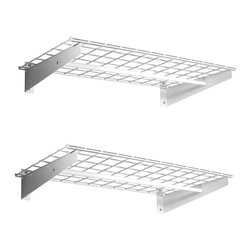 "HyLoft - HyLoft 36"" x 18"" Wall Mounted Shelves (Set of 2) - HyLoft's storage shelves are a quick and easy way to get sturdy, adaptable, off-the-floor storage. The steel construction means that these shelves are unlikely to bend-the unit as a whole can support up to 100 pounds. Installation is easy, and all the necessary mounting hardware is included. Multiple shelves may be connected to create a single continuous storage system."