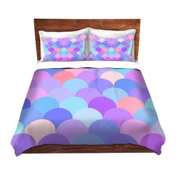 DiaNoche Designs - Duvet Cover Twill by Organic Saturation - Pastel Scales Pattern - Lightweight and soft brushed twill Duvet Cover sizes Twin, Queen, King.  SHAMS NOT INCLUDED.  This duvet is designed to wash upon arrival for maximum softness.   Each duvet starts by looming the fabric and cutting to the size ordered.  The Image is printed and your Duvet Cover is meticulously sewn together with ties in each corner and a concealed zip closure.  All in the USA!!  Poly top with a Cotton Poly underside.  Dye Sublimation printing permanently adheres the ink to the material for long life and durability. Printed top, cream colored bottom, Machine Washable, Product may vary slightly from image.