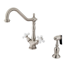 "Kingston Brass - Double Handle Kitchen Faucet With Side Sprayer - True to its name, the Heritage collection features aesthetic colonial elegance. The early American theme brings a timeless traditional design with graceful, yet attractive round curves and Victorian style spouts. This double handle kitchen faucet includes a 8"" deck mount setup with a 360-degree turn swivel hook spout. The handle moves in a 1/4-turn rotation for water volume control with a 2.2 GPM (8.3 LPM) 60 PSI max rate. Fabricated in solid brass for durability and reliance, we also provide an assortment of different finishes for stain, scratch and chipping resistance. A 10-year limited warranty is provided to the original customer. Brass Sprayer included.; Brass Sprayer Included; 1/4 Turn Ceramic Disk Cartridge; Porcelain Cross Handle; 8-5/8"" Spout Projection with a 9-1/4"" spout clearance; Single Hole Installation; Material: Brass; Finish: Satin Nickel Finish; Collection: Heritage"