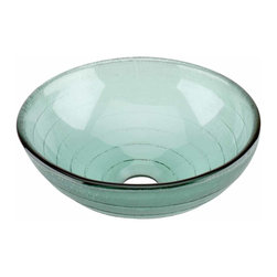 Renovators Supply - Vessel Sinks Frosted Green Glass Mini Circle Vessel Sink | 12895 - MINI Glass Vessel Sinks: Textured Frosted Tempered glass sinks are five times stronger than glass, 1/2 inch thick, withstand up to 350 F degrees, can resist moderate to high degrees of impact and are stain-proof. Ready to install this package includes FREE 100% solid brass chrome-plated pop-up drain, FREE machined 100% solid brass chrome-plated mounting ring and silicone gasket. Measures 12 inch diameter x 4 3/8 inch deep x 1/2 inch thick.