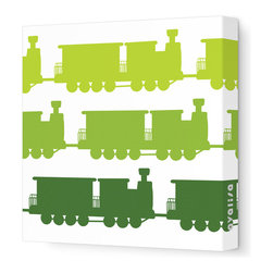 "Avalisa - Things That Go - Trains Stretched Wall Art, 12"" x 12"", Green Hue -"