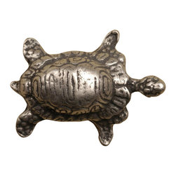 Anne At Home - Turtle - Small Knob (Set of 10) (Pewter Matte) - Finish: Pewter Matte. Hand cast and finished. Made in the USA. Pewter with brass insert. 1 in. L x 1.5 in. W x 1 in. H