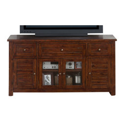 Jofran - Jofran Urban Lodge Brown Media Unit with Drawers and Doors in Espresso - Media unit with 3 Drawers, 2 Wood doors, 2 glass doors. Shipped fully assembled.