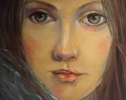 """Emotions"" (Original) By Mahnoush Rahbar - A Girl Looking Beyond A Veil."