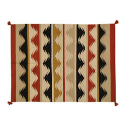 Reversible Multicolored 5'X7' Hand Woven 100% Wool Navajo Style Area Rug SH1639 - Soumaks & Kilims are prominent Flat Woven Rugs.  Flat Woven Rugs are made by weaving wool onto a foundation of cotton warps on the loom.  The unique trait about these thin rugs is that they're reversible.  Pillows and Blankets can be made from Soumas & Kilims.