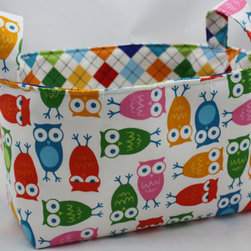 Reversible Multi Colored Owl Fabric Organizer by Diva's Intuition - I would use this for keeping books next to a reading chair or even next to the bed.